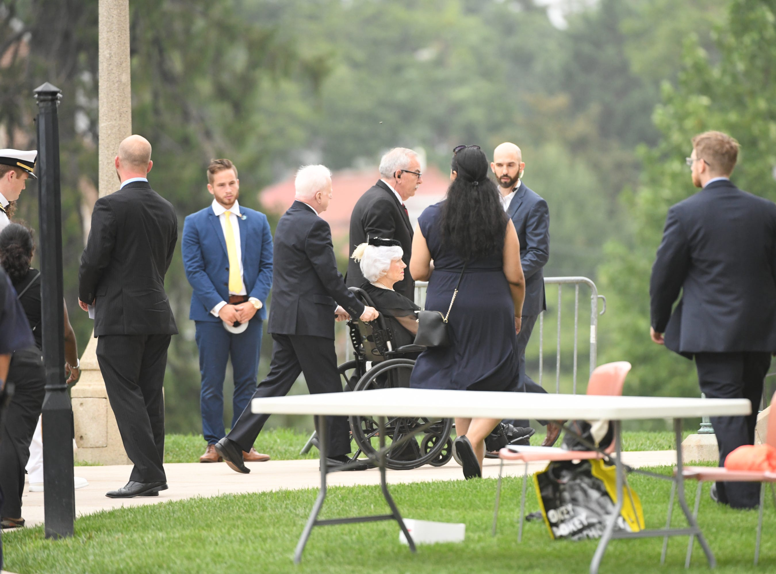 9/1/18 9:02:03 AM -- Washington, DC, U.S.A  -- Roberta McCain arrives at the National Cathedral in Washington for a memorial service for her son, John McCain, on Sept. 1, 2018. Sen. McCain died on Aug. 25. --    Photo by Jasper Colt, USA TODAY Staff