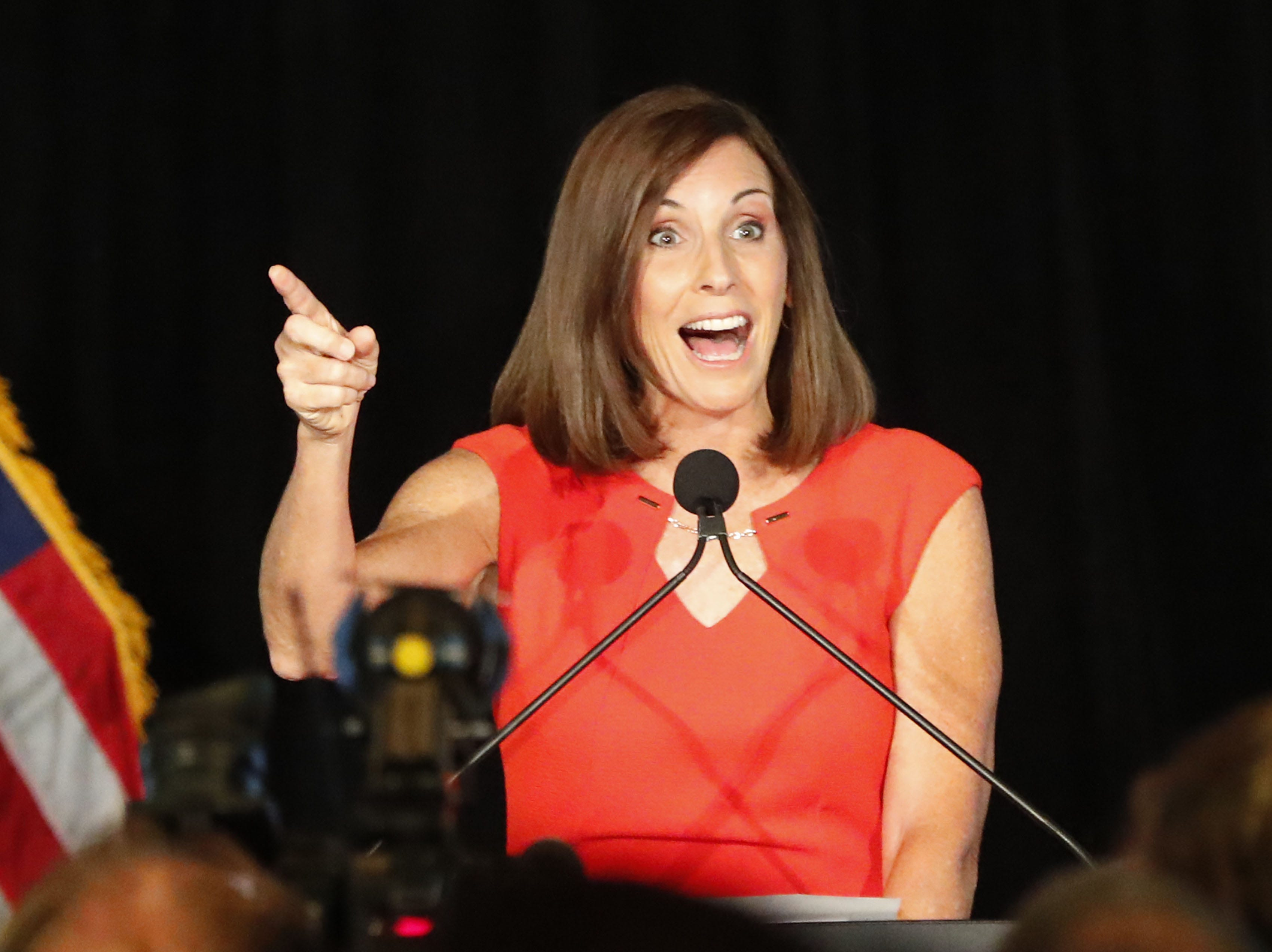 Rep. Martha McSally greets supporters Aug. 28. 2018, during a primary election party In Tempe, Ariz. . McSally, the two-term congresswoman from Tucson, is vying for the Republican nomination for the open U.S. Senate seat.