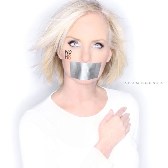 Cindy McCain shot for the NOH8 campaign by Adam Bouska.