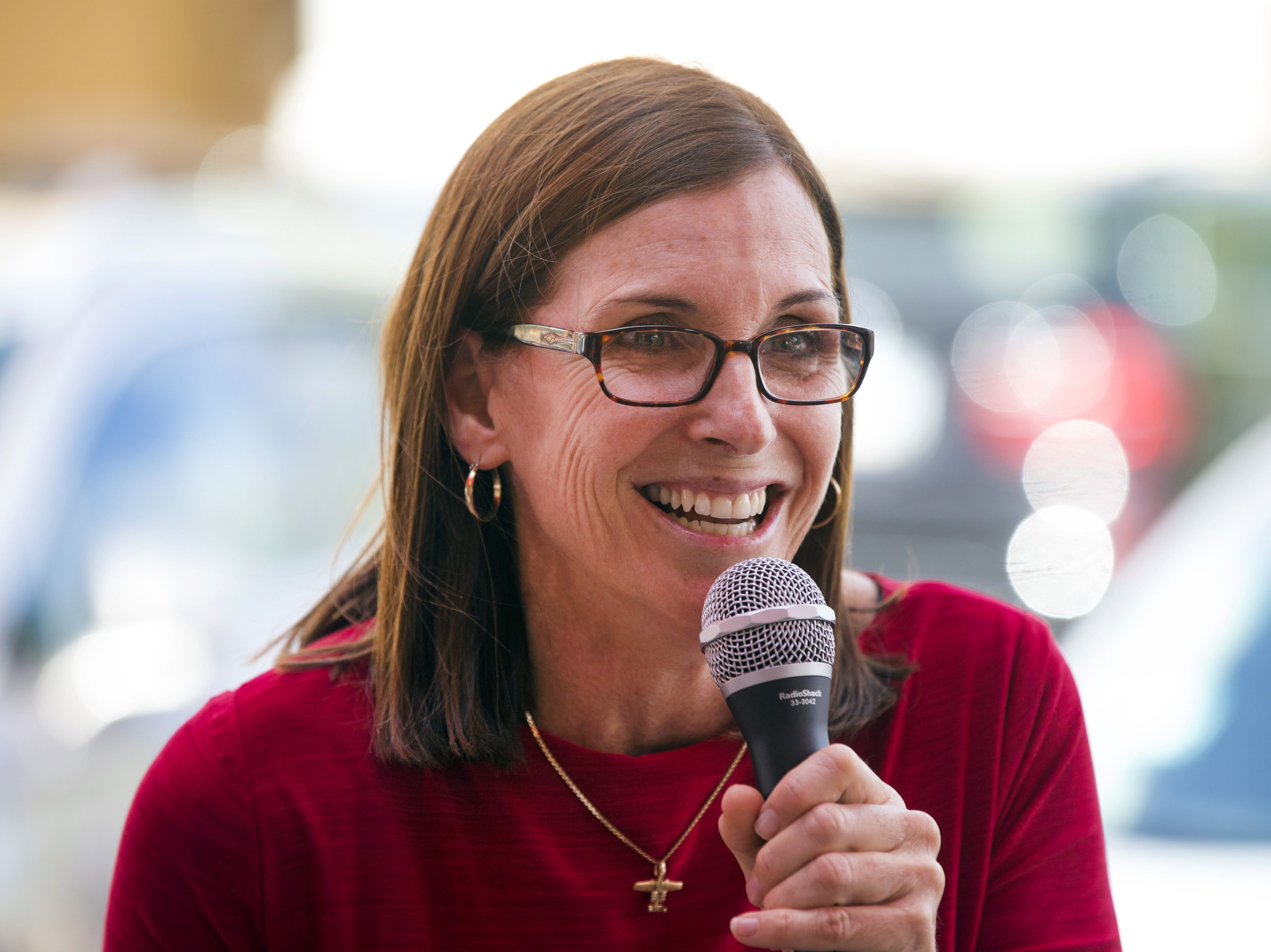 Rep. Martha McSally, a republican vying for her party's U.S. Senate nomination, speaks during campaign pitch to the Palo Verde Republican Woman at Lush Burger in Scottsdale on May 20, 2018.
