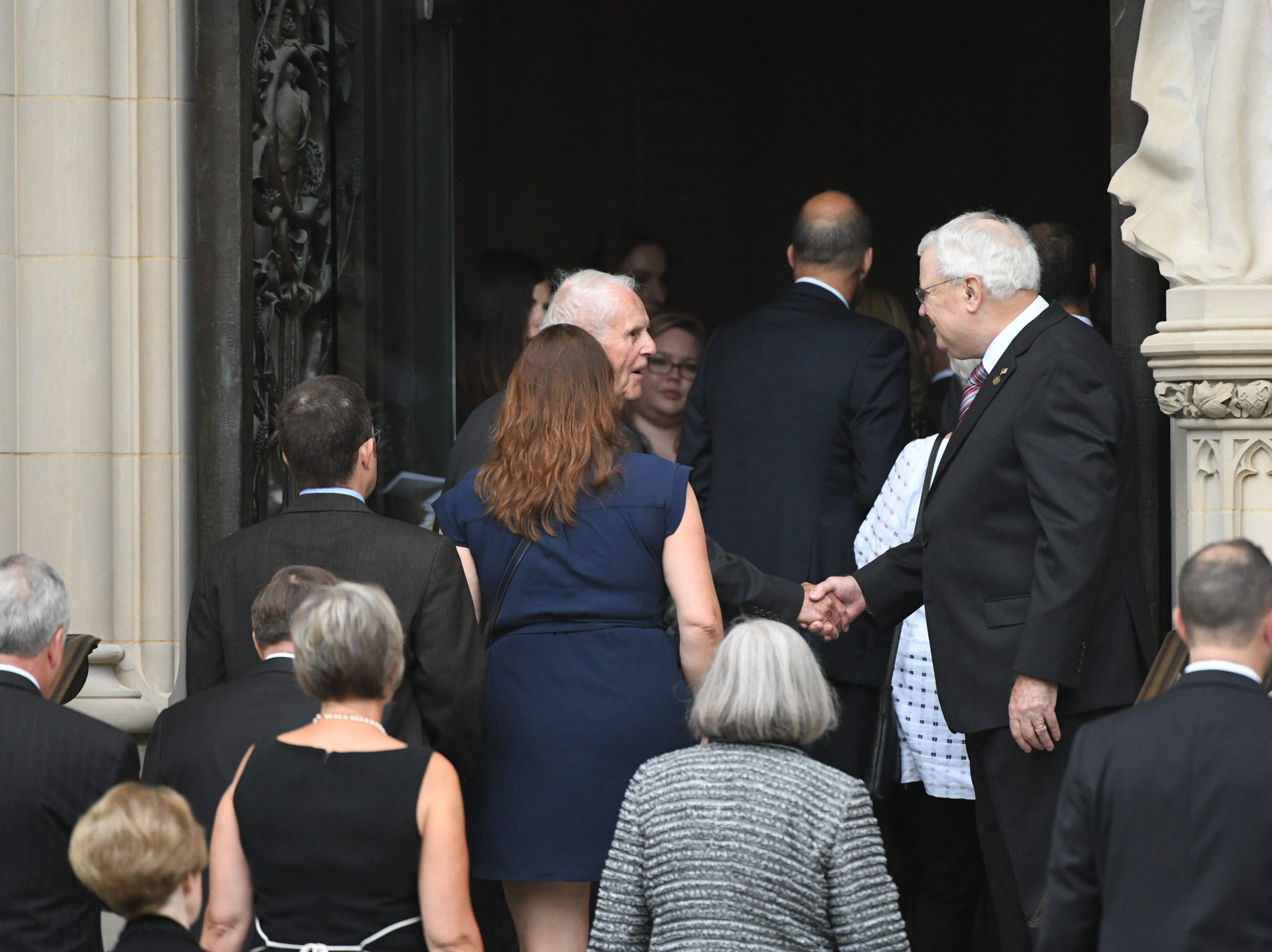 Mourners enter the National Cathedral in Washington for a memorial service for John McCain on Sept. 1, 2018. Sen. McCain on Aug. 25.
