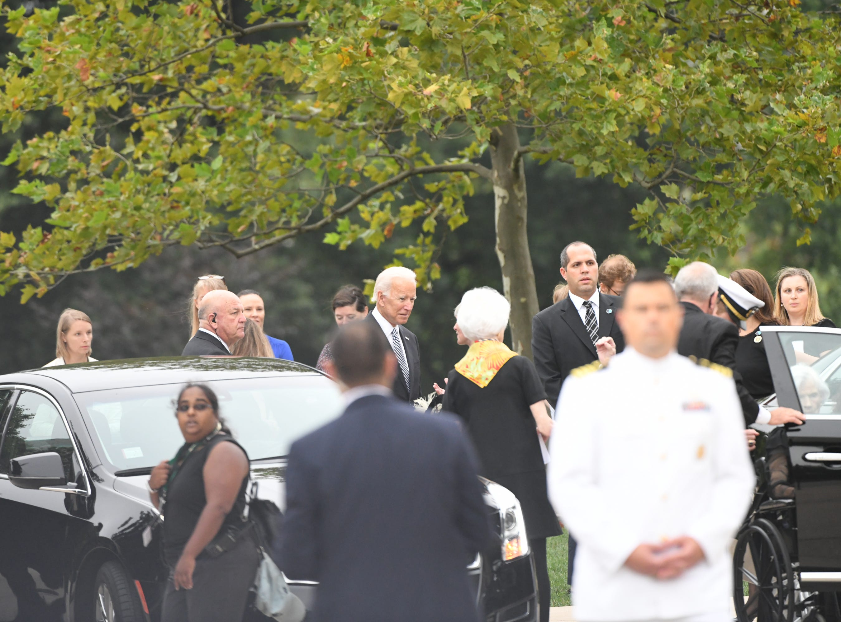 9/1/18 9:00:09 AM -- Washington, DC, U.S.A  --  Former Vice President Joe Biden arrives at the National Cathedral in Washington for a memorial service for her son, John McCain, on Sept. 1, 2018. Sen. McCain died on Aug. 25. --    Photo by Jasper Colt, USA TODAY Staff