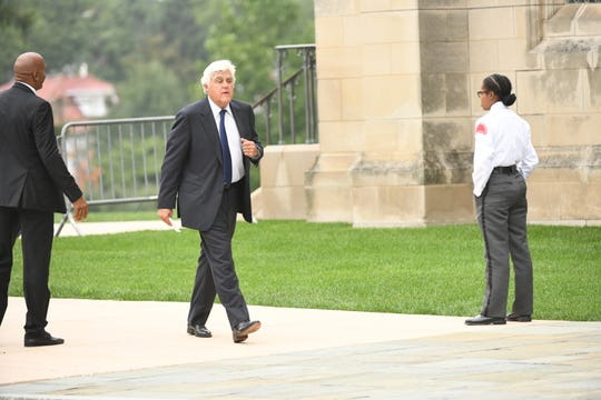Jay Leno arrives at the National Cathedral in Washington for a memorial service for John McCain on Sept. 1, 2018. Sen. McCain on Aug. 25. -