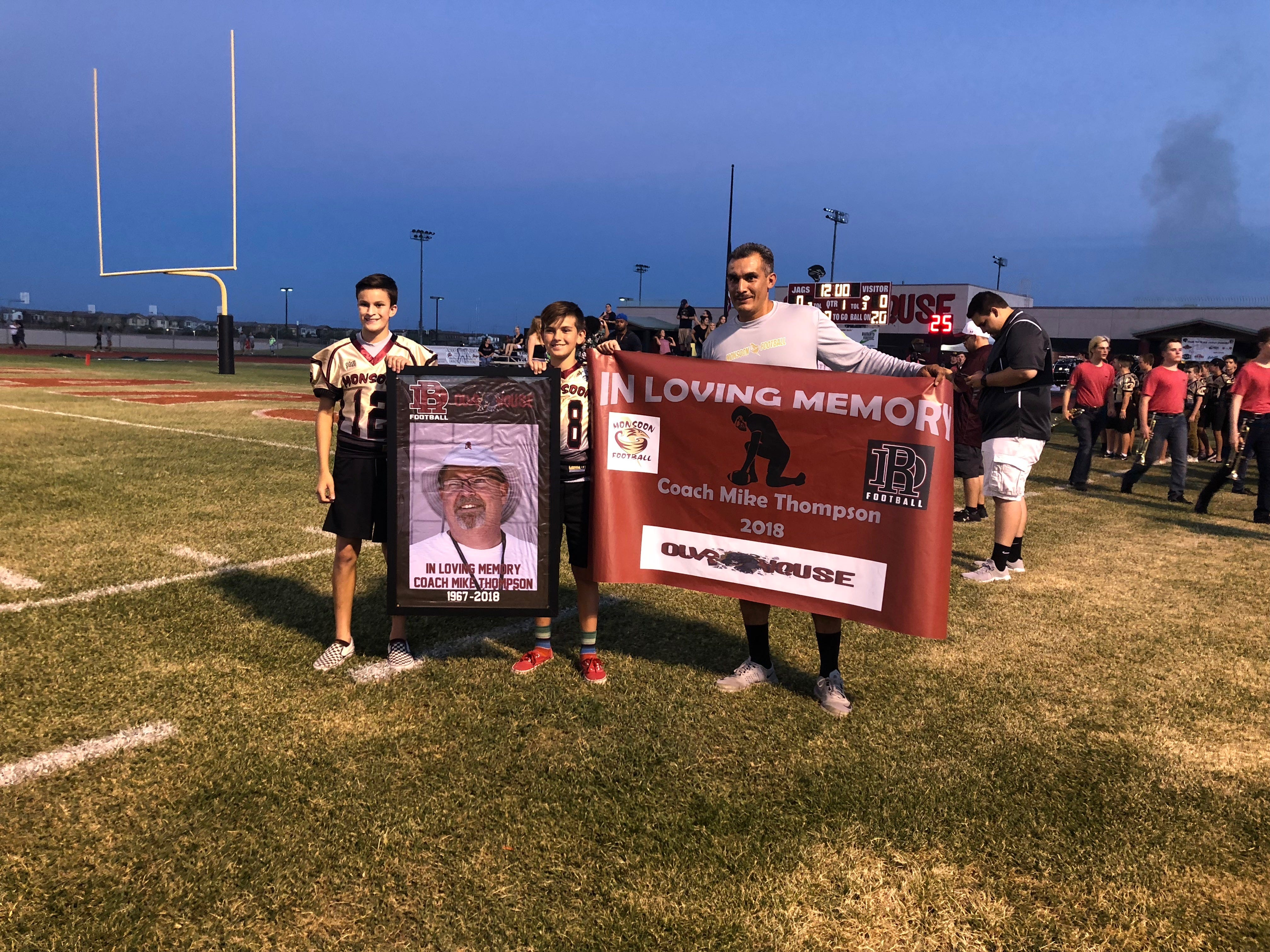 Late Desert Ridge assistant coach Mike Thompson was honored prior to there game against Skyline