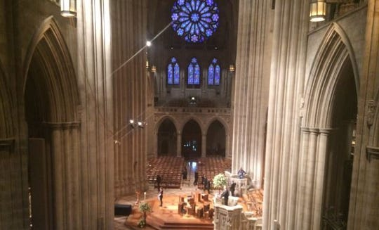 View from the press section in the South Balcony inside the Washington National Cathedral on Sept. 1, 2018, less than two hours before the memorial service for U.S. Sen. John McCain.