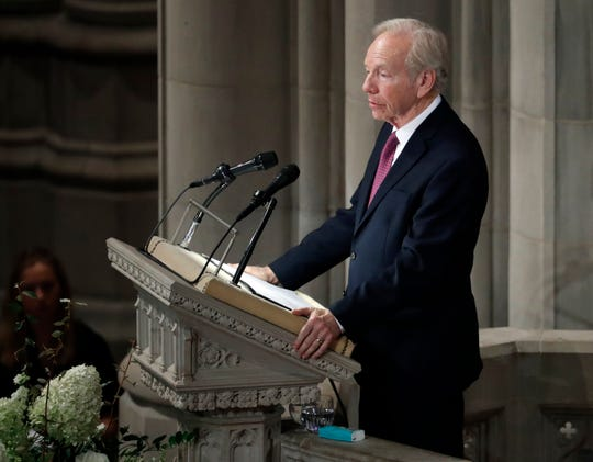 Former Sen. Joseph Lieberman speaks during a memorial services for Sen. John McCain, R-Ariz., at Washington Nationals Cathedral in Washington, Saturday, Sept. 1, 2018. McCain died Aug. 25, from brain cancer at age 81. (AP Photo/Pablo Martinez Monsivais)