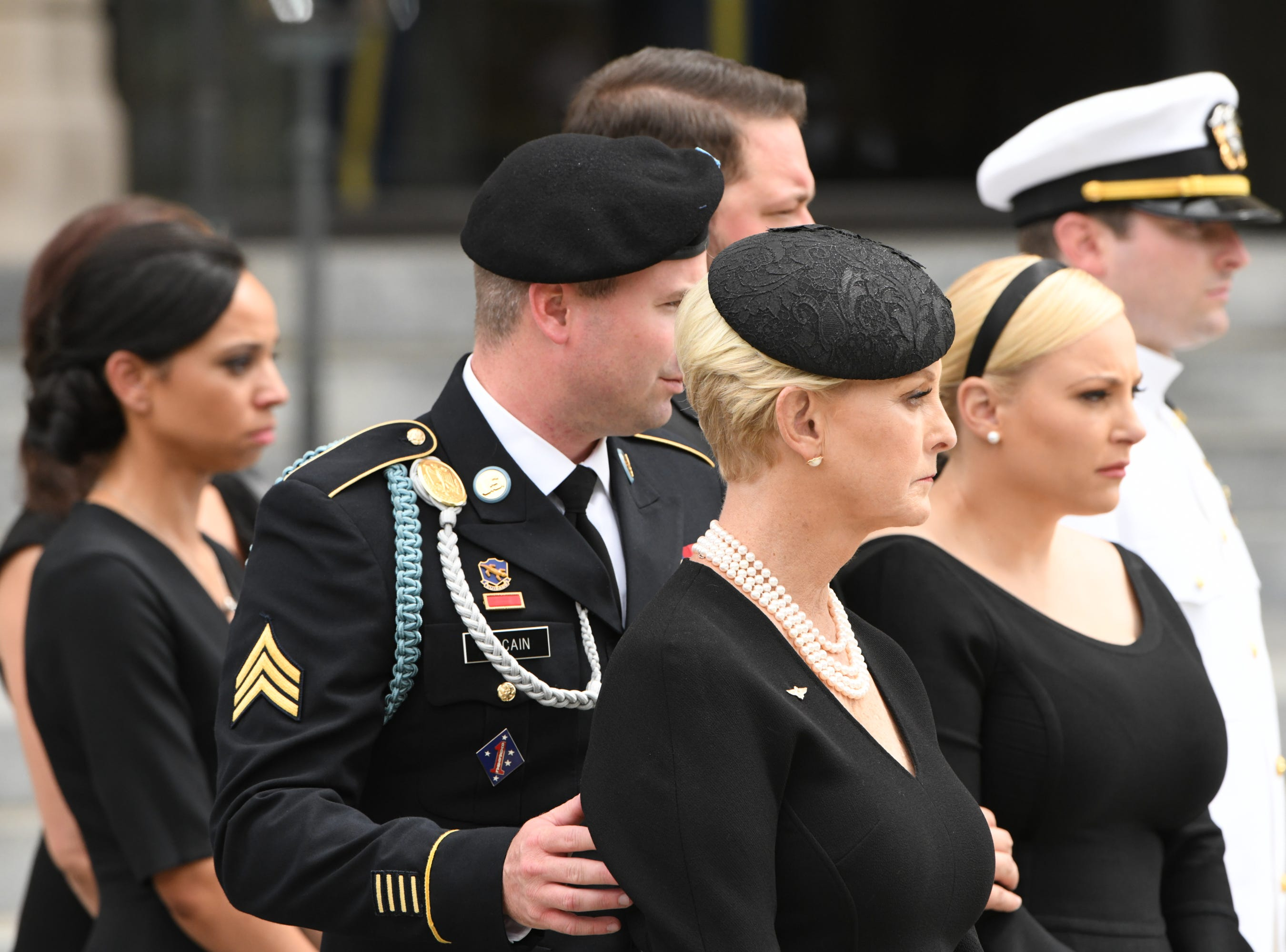 9/1/18 12:41:34 PM -- Washington, DC, U.S.A  -- Members of the McCain family leave the memorial service for John McCain at the National Cathedral in Washington on Sept. 1, 2018. Sen. McCain died on Aug. 25. --    Photo by Jasper Colt, USA TODAY Staff
