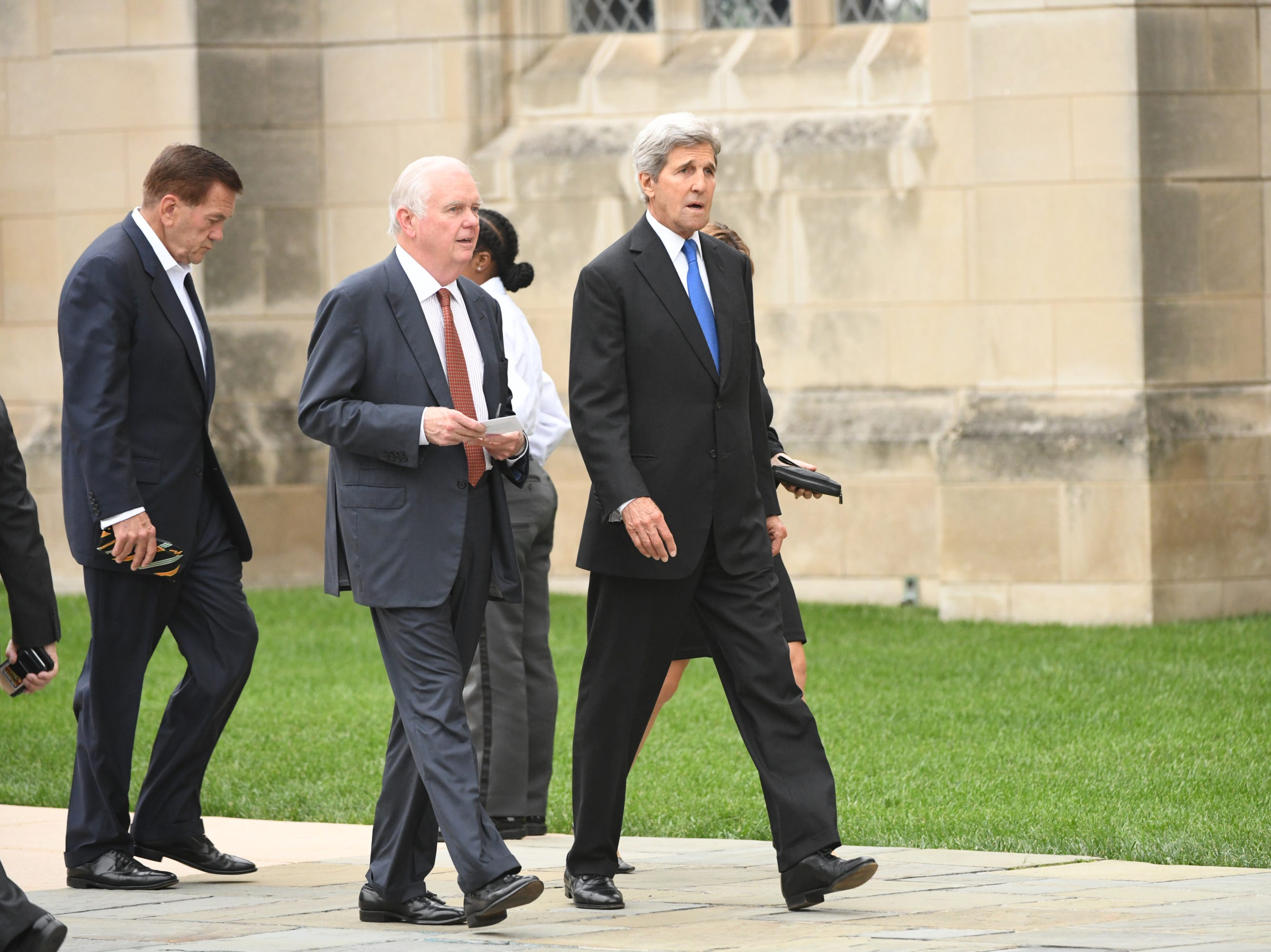 John Kerry arrives at the National Cathedral in Washington for a memorial service for John McCain on Sept. 1, 2018. Sen. McCain on Sept. 1, 2018. Sen. McCain on Aug. 25.