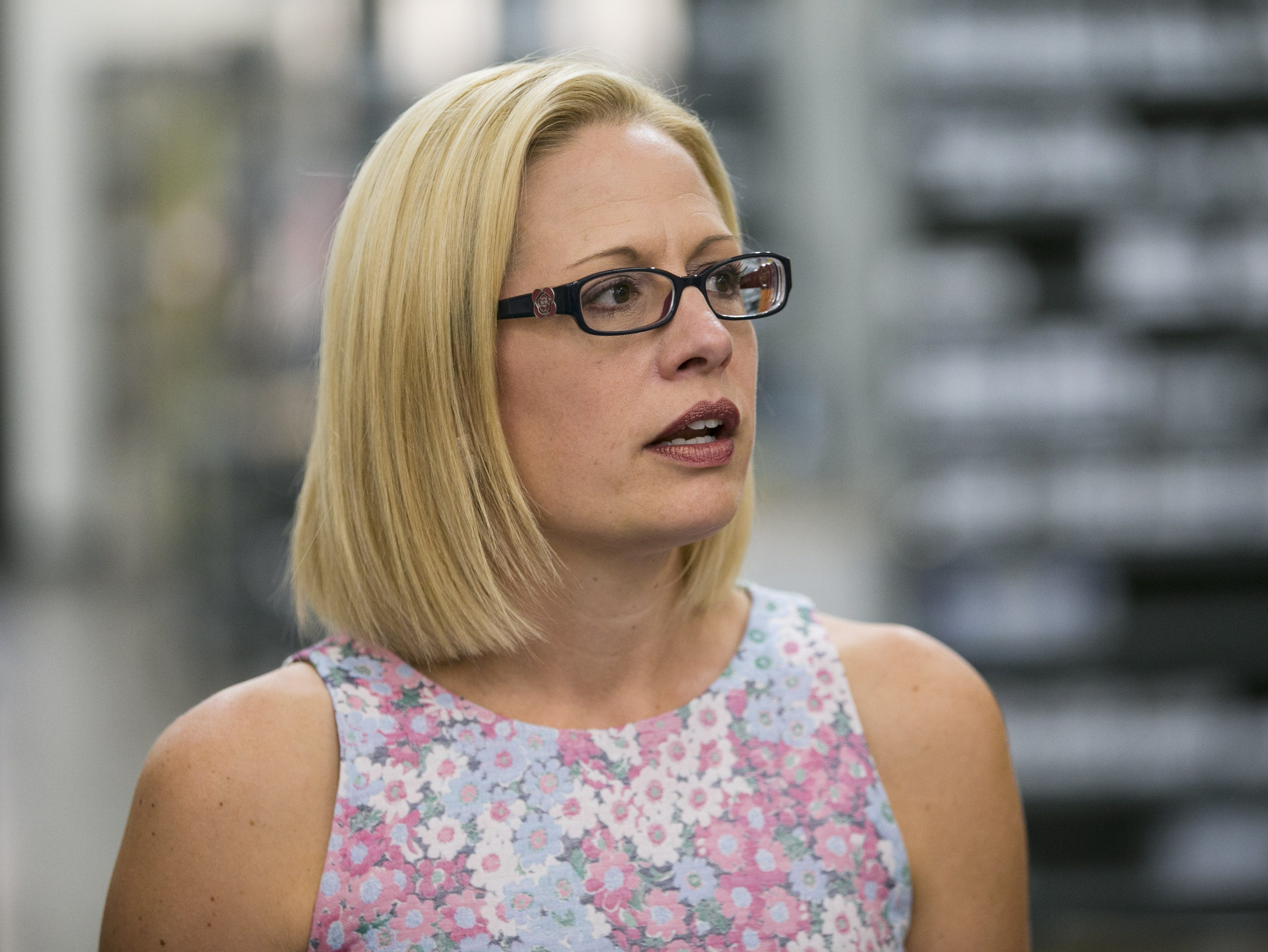 U.S. Rep. Kyrsten Sinema, who is running for U.S. Senate as a Democrat, tours Blockwise Engineering LLC in Tempe on July 2, 2018.