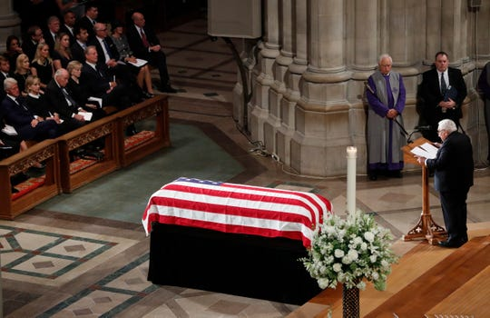 Former Secretary of State Henry Kissinger speaks at a memorial service for Sen. John McCain, R-Ariz., at Washington National Cathedral in Washington, Saturday, Sept. 1, 2018. McCain died Aug. 25, from brain cancer at age 81. (AP Photo/Pablo Martinez Monsivais)