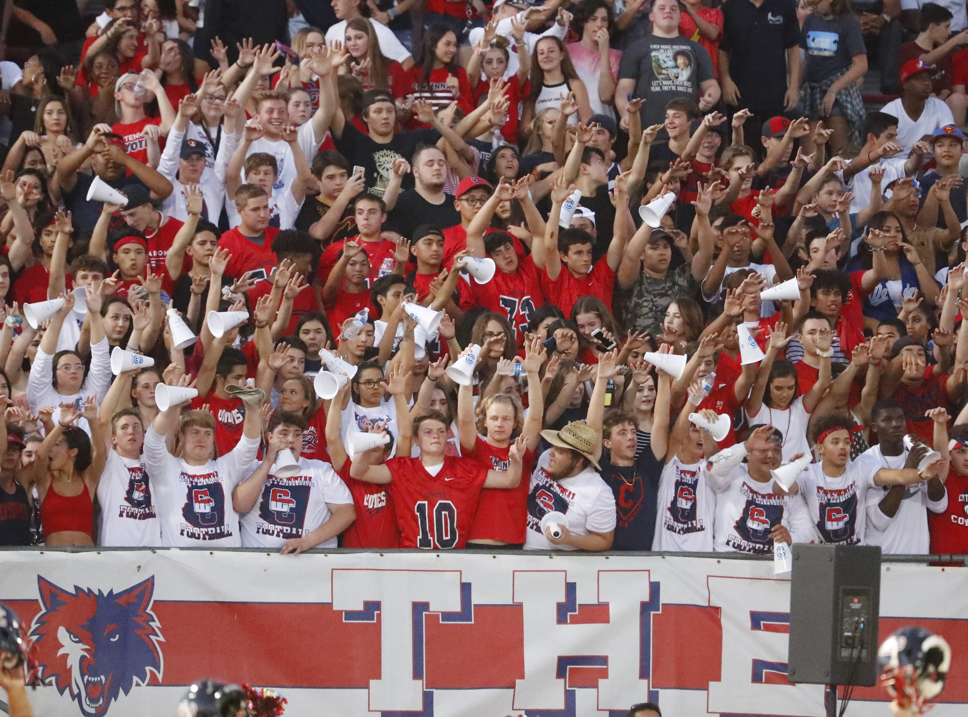 Centennial fans cheer on their team at kickoff against Bishop Gorman at Centennial High School in  Peoria, Ariz. on Aug. 31, 2018.