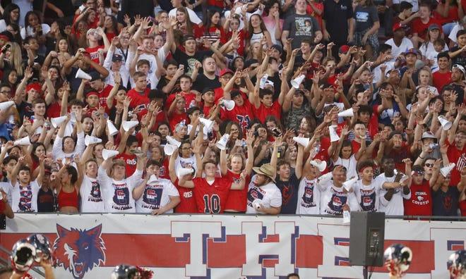 Centennial fans cheer on their team at kickoff against Bishop Gorman at Centennial High School in  Peoria, Ariz. on Aug. 31, 2018.