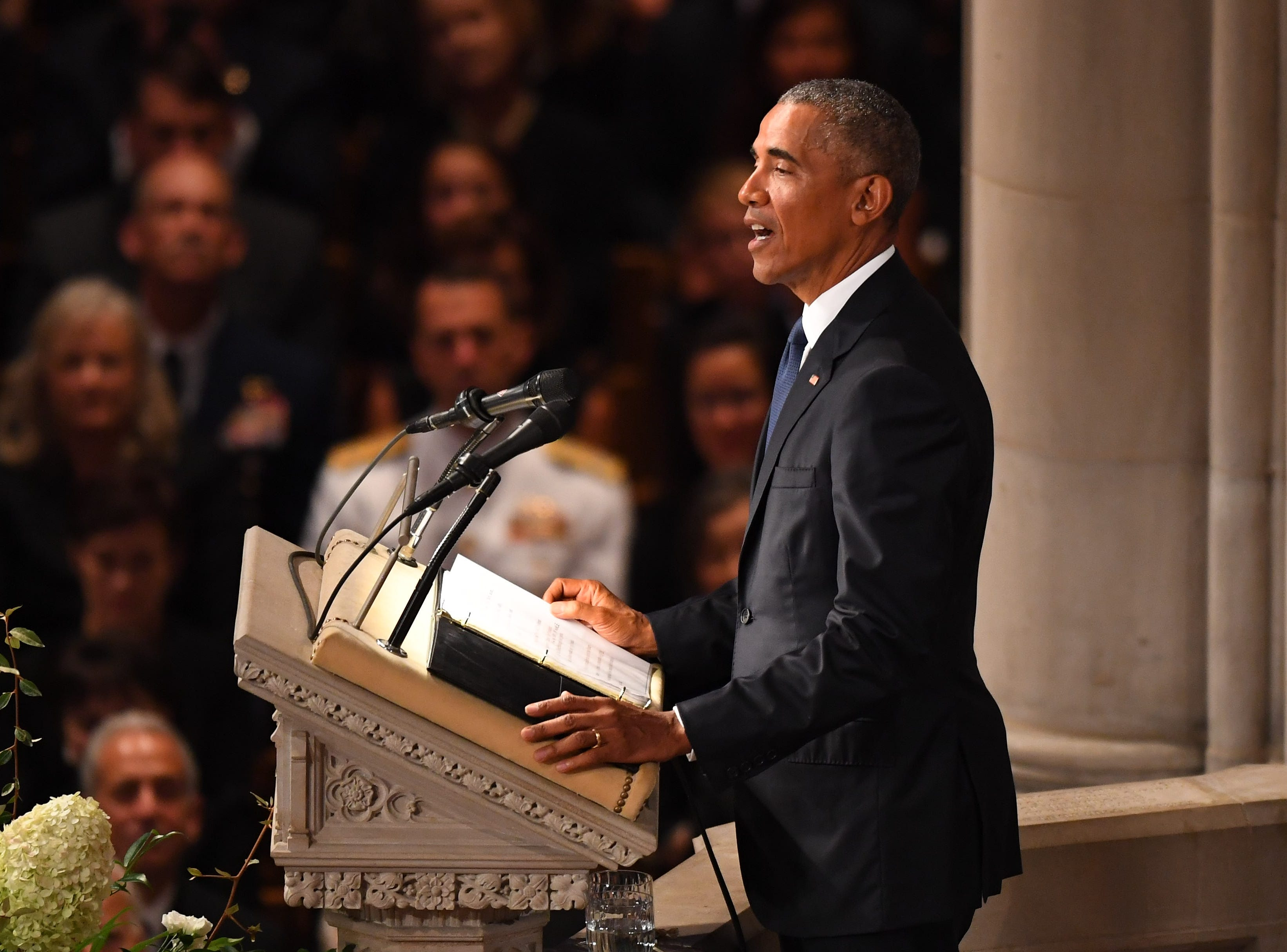9/1/18 10:33:38 AM -- Washington, DC, U.S.A  -- President Barack Obama at the memorial service for John McCain at the National Cathedral in Washington on Sept. 1, 2018. Sen. McCain on Aug. 25. --    Photo by Jack Gruber, USA TODAY Staff