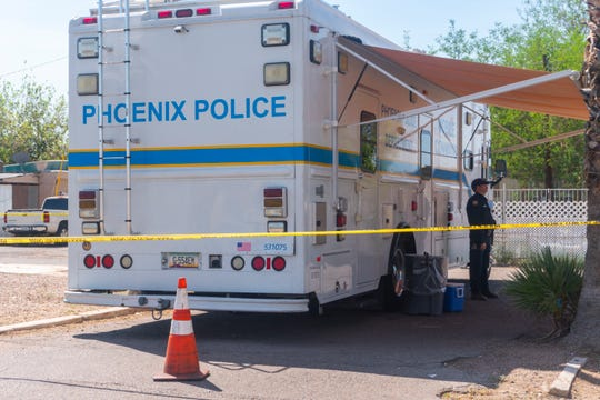 Police investigate double homicide and kidnapping on Sat. Sept, 1st, 2018 in Phoenix, Ariz.