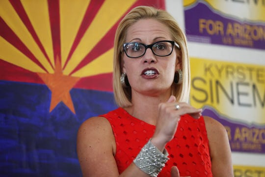 Kyrsten Sinema thanks volunteers at her field office on Aug. 28. 2018, in Phoenix. Sinema is vying for the Democratic nomination for the open U.S. Senate seat.