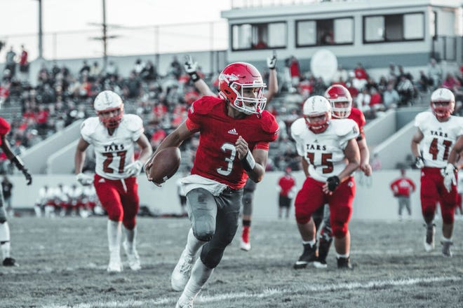 Jonny Oriel scores one of three rushing touchdowns for Port Huron.
