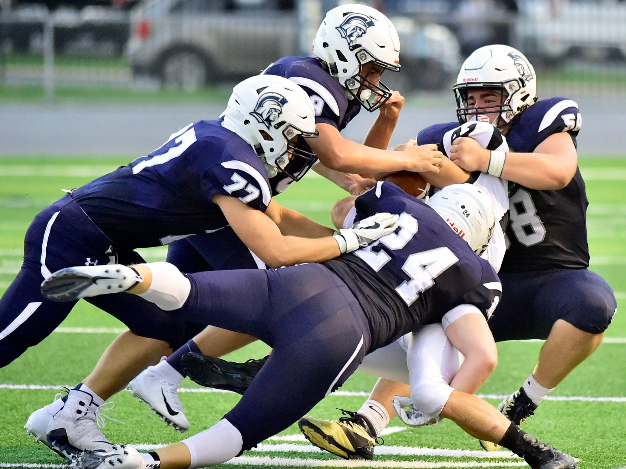 Chambersburg's swarming defense is a big part of the Trojans victories. Chambersburg routed South Western 51-26 in football on Friday, Aug. 31, 2018.