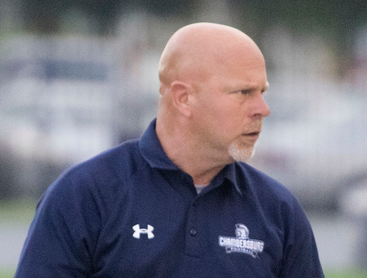 Mark Luther coaches the Chambersburg Trojans. Chambersburg routed South Western 51-26 in football on Friday, Aug. 31, 2018.