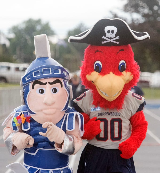Mascots from Chambersburg and Shippensburg University entertain the crowd. Chambersburg routed South Western 51-26 in football on Friday, Aug. 31, 2018.