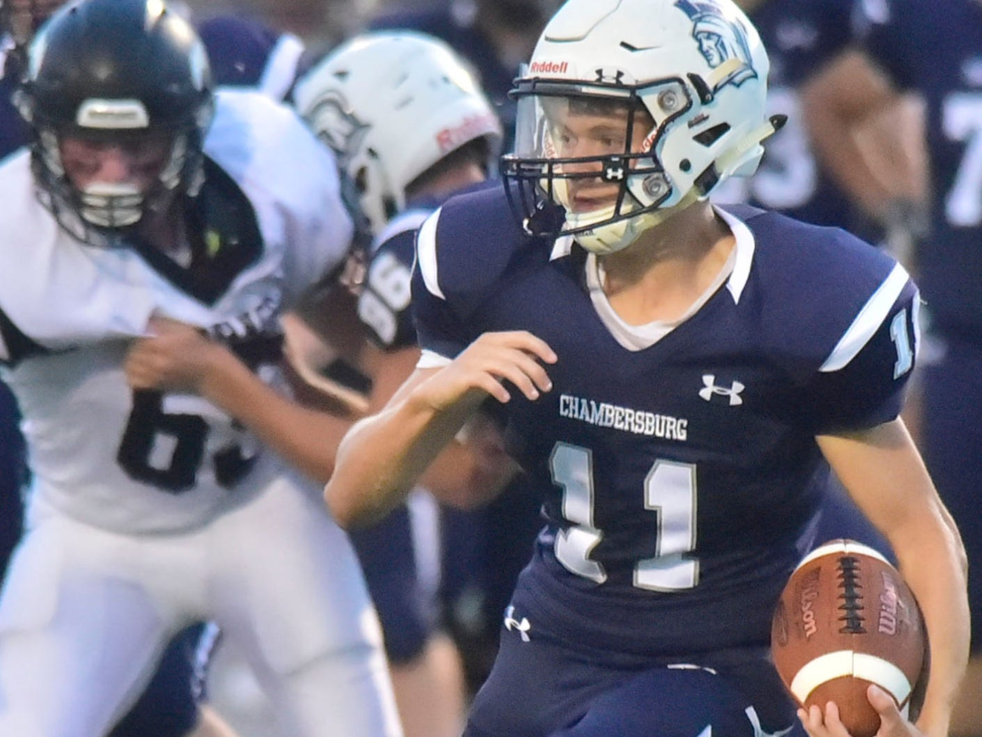 Chambersburg's Keaton Morris runs for a first down. Chambersburg defeated South Western 51-26 in football on Friday, Aug. 31, 2018.