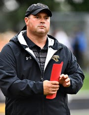 Red Lion head coach Jesse Shay is shown during the Lions' 48-14 win over Waynesboro on Friday, Aug. 31, 2018. Red Lion travels to Chambersburg Friday. Dawn J. Sagert photo