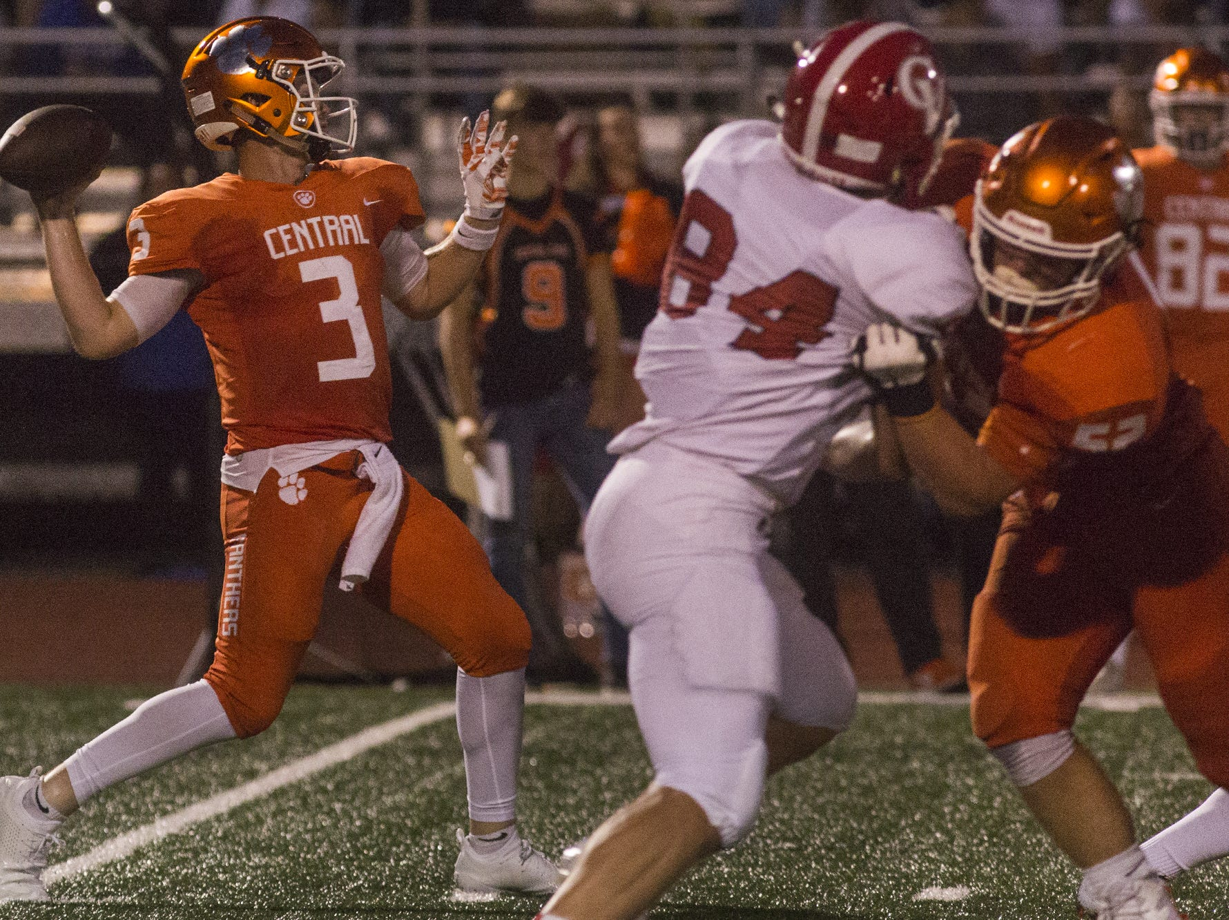 Central York quarterback Cade Pribula throws for the Panthers second touchdown. Central York defeats Cumberland Valley 31-14 in football at Central York High School in Springettsbury Township, Friday, August 31, 2018.