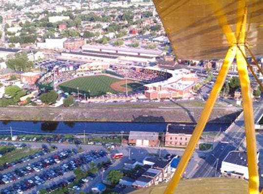 This bird's-eye view provides a view of the stadium and 210 York Street, the large white building  at about 10 o'clock.