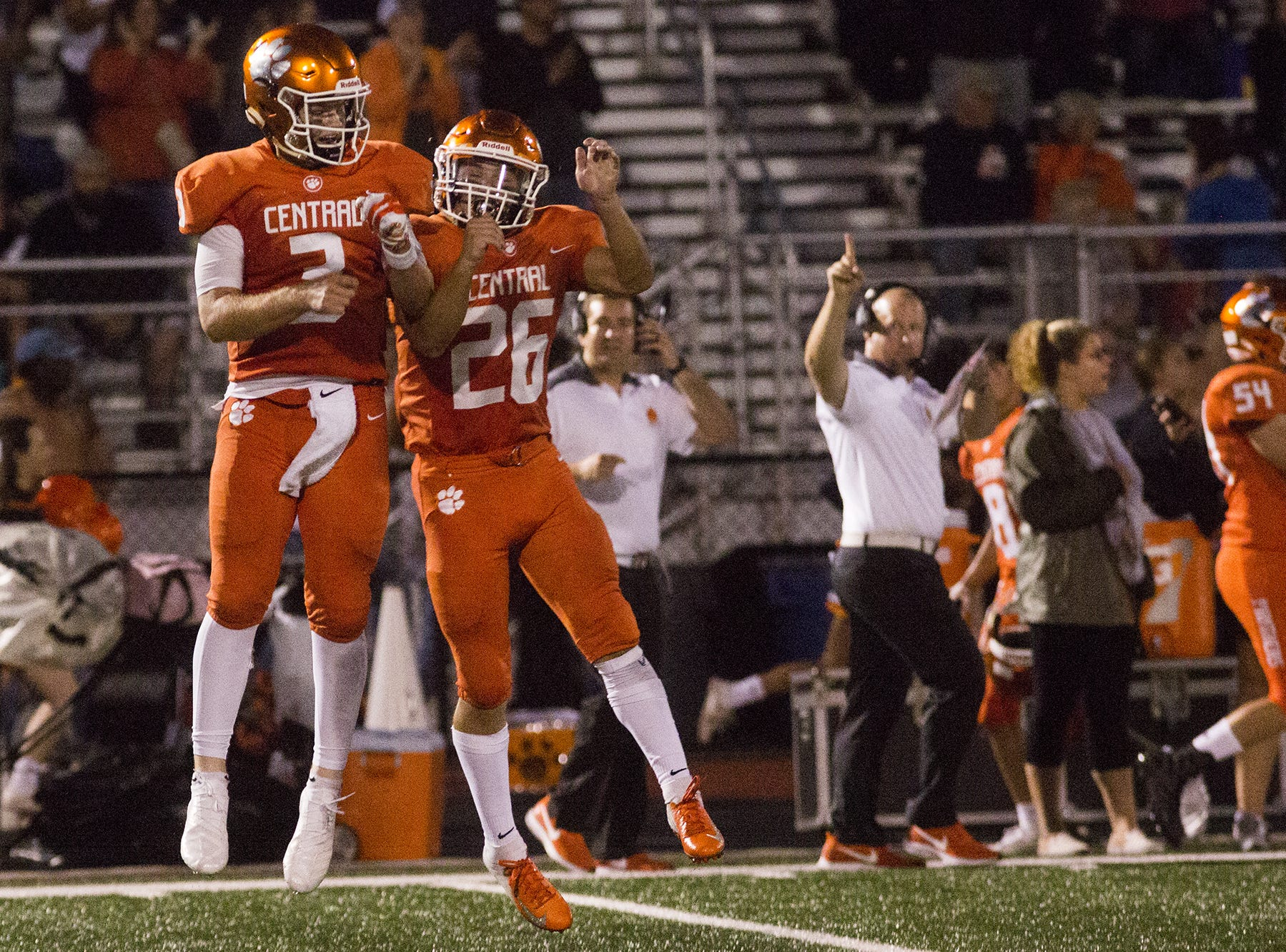 Central York quarterback Cade Pribula, left, and Hunter Werner celebrate after the Panthers second touchdown. Central York defeats Cumberland Valley 31-14 in football at Central York High School in Springettsbury Township, Friday, August 31, 2018.