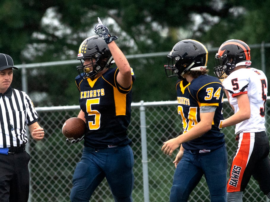 Eastern York's Kaleb Corwell (5) celebrates a touchdown in the third quarter, Saturday, September 1, 2018. The Eastern York Golden Knights (2-0) beat the Hanover Nighthawks (0-2) 47-21, at Eastern York High School.