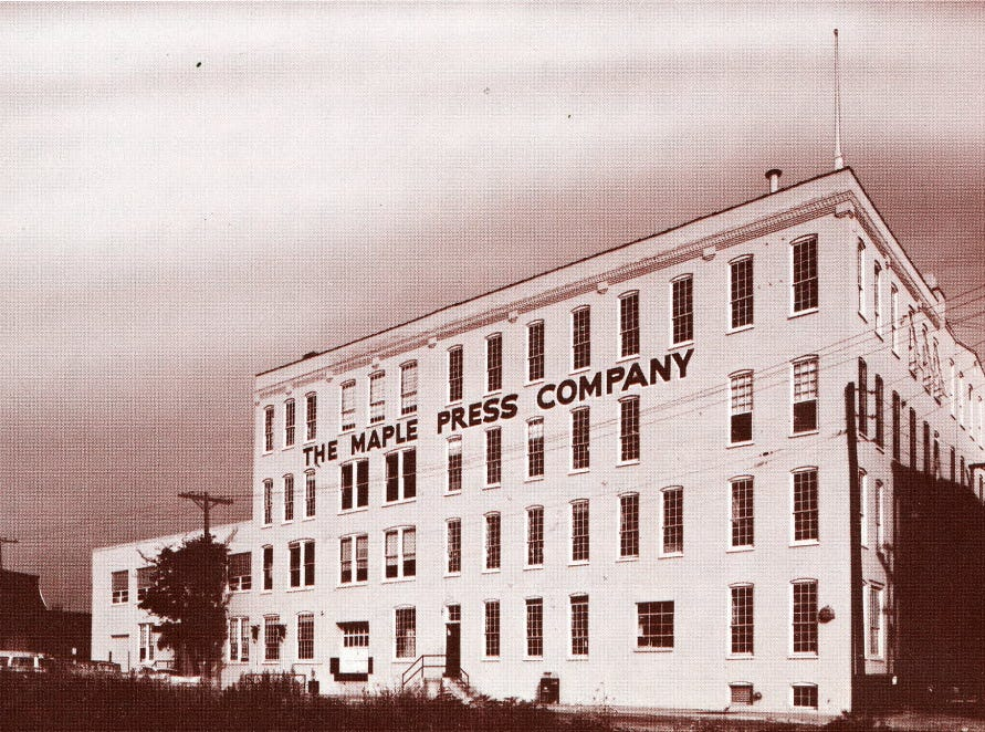 In the decades that Maple Press operated on York Street, the printing process, long mechanical, was experiencing a revolution in technology. In 1968, the book 'Greater York in Action' showed this photo and indicated this change: Its product lines ranged from computerized linotype to mechanical letterpress. The printing company touted its new building in Manchester Township housing the most modern equipment for textbook publishing and other tools for education. That meant the introduction of computers into the publishing business.