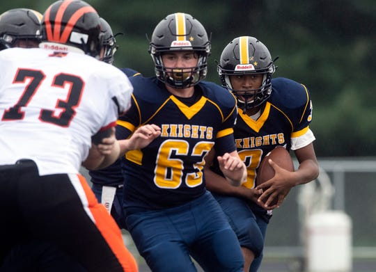Eastern York's Robert Oliver (31) runs the ball in the fourth quarter, Saturday, September 1, 2018. The Eastern York Golden Knights (2-0) beat the Hanover Nighthawks (0-2) 47-21, at Eastern York High School.