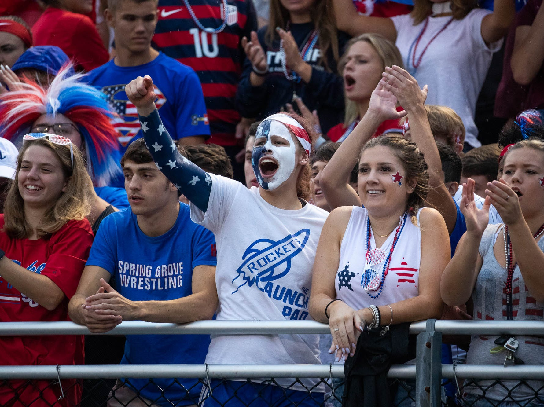 Spring Grove students cheer during a football game between Muhlenberg and Spring Grove, Friday, Aug. 31, 2018, in Spring Grove.