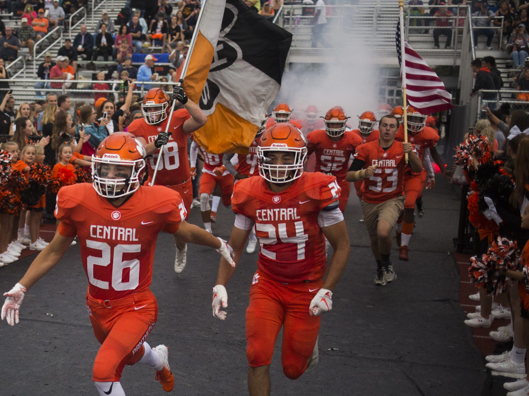 Central York takes the field. Central York defeats Cumberland Valley 31-14 in football at Central York High School in Springettsbury Township, Friday, August 31, 2018.