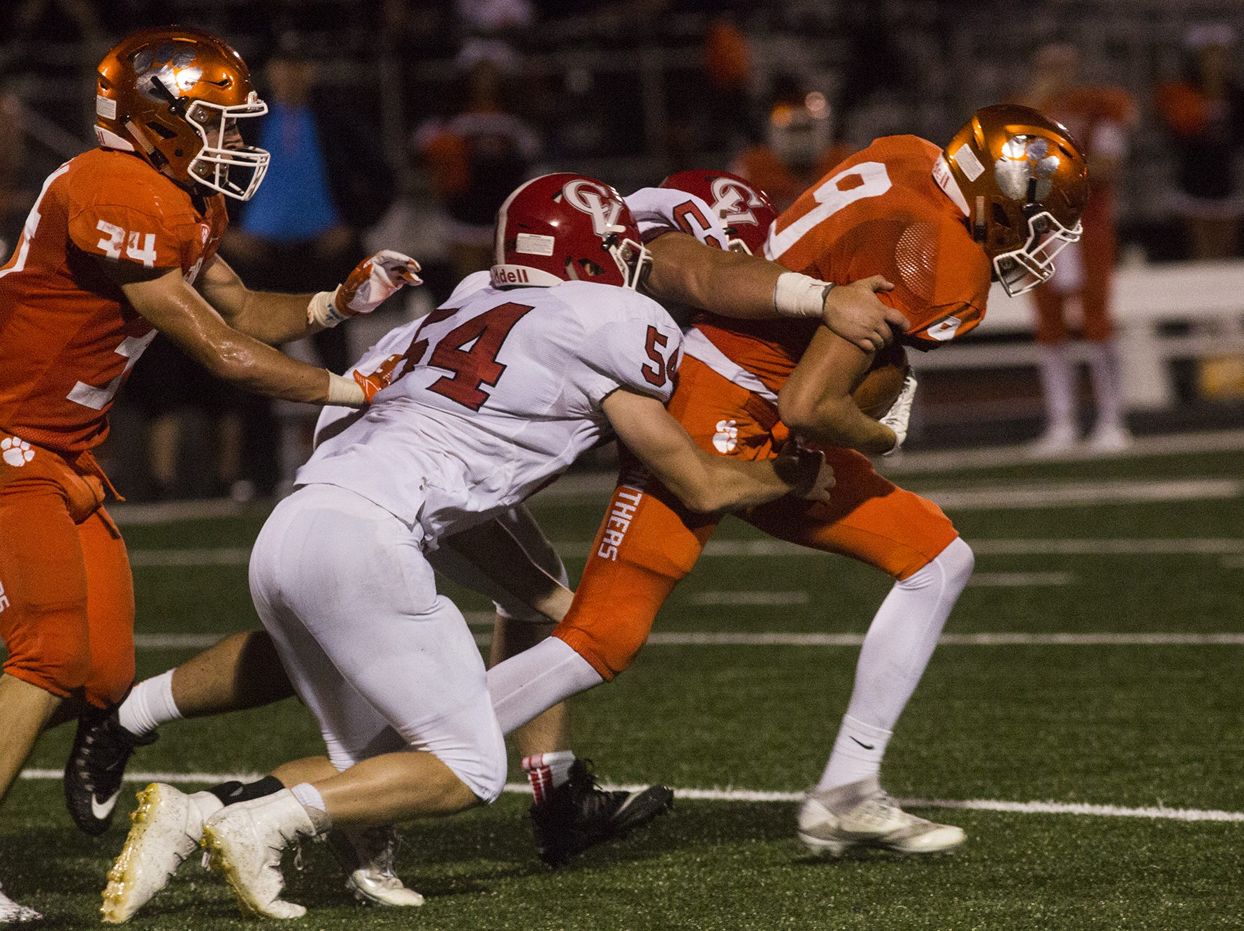 Central York's Reid Hershner is tackled after recovering a Cumberland Valley fumble. Central York defeats Cumberland Valley 31-14 in football at Central York High School in Springettsbury Township, Friday, August 31, 2018.