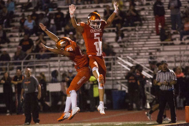 Central York teammates Hunter Werner, left, and Beau Pribula celebrate after a touchdown. Central York defeats Cumberland Valley 31-14 in football at Central York High School in Springettsbury Township, Friday, August 31, 2018.