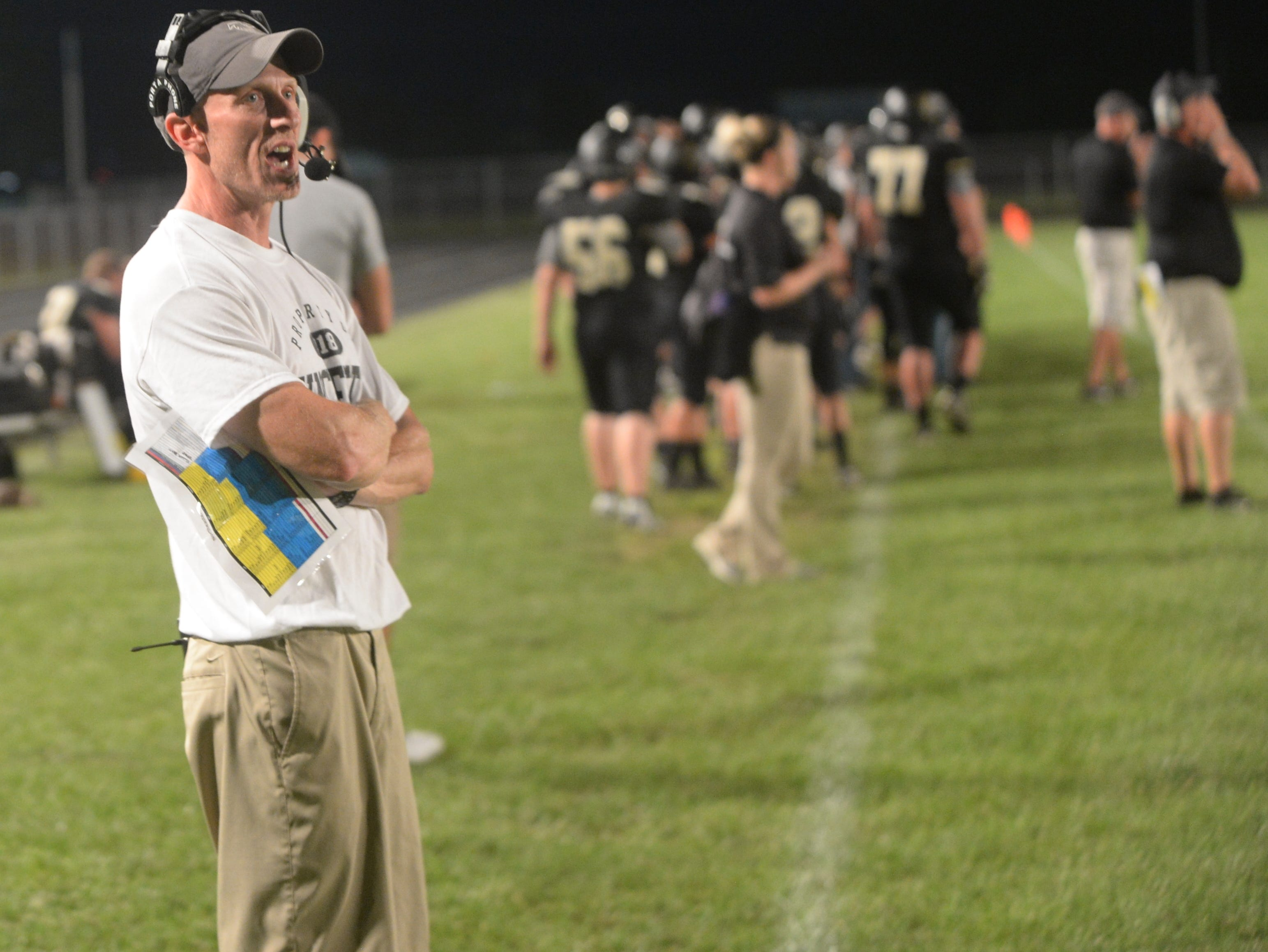 Winchester football coach Mike Jones during a football game between Winchester and Northeastern Friday, Aug. 31, 2018. Northeastern won 24-20.