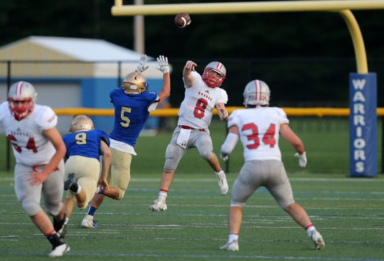 Canandaigua quarterback Jack Johnston dumps off a screen pass to running back Seth Vigneri against Schroeder.