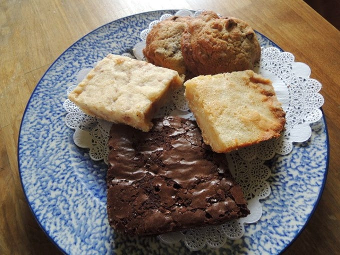 Plate of pastries at Shorty's Eatery, including brownies and Scottish shortbread.