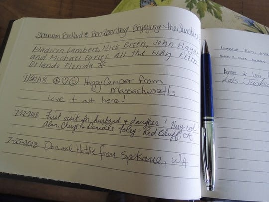 """Visitors to Shorty's Eatery in Shasta leave comments in book -- """"Love it out here!"""""""