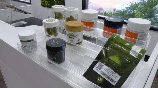 Different cannabis products were on display at the Synergy store on Saturday.