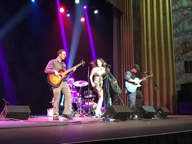 Emily Kelly and Graham Coe, who comprise The Jellyman's Daughter, performed at the Carr Fire Benefit Show at the Cascade Theatre on Aug. 31, 2018.