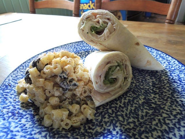 The turkey wrap sandwich with a side of macaroni salad at Shorty's Eatery in Shasta.