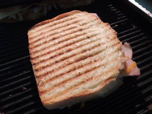A panini on the grill at Shorty's Eatery in Shasta.