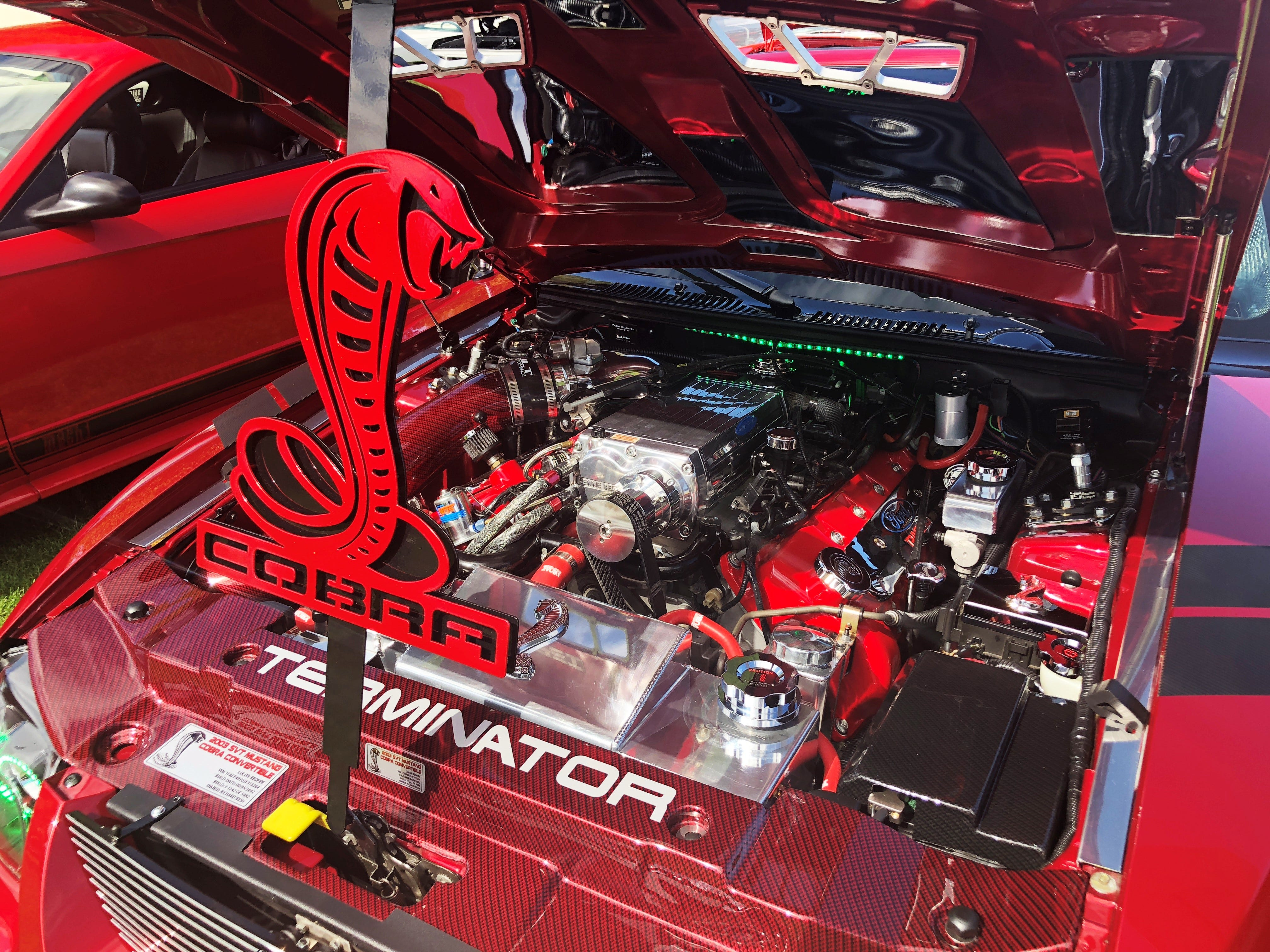 The engine of a 2003 Ford Mustang Cobra RedFire Convertible TERMINATOR at the 27th Annual Carousel Cruise at Riverfront Park in Salem on Saturday, Sept. 1.