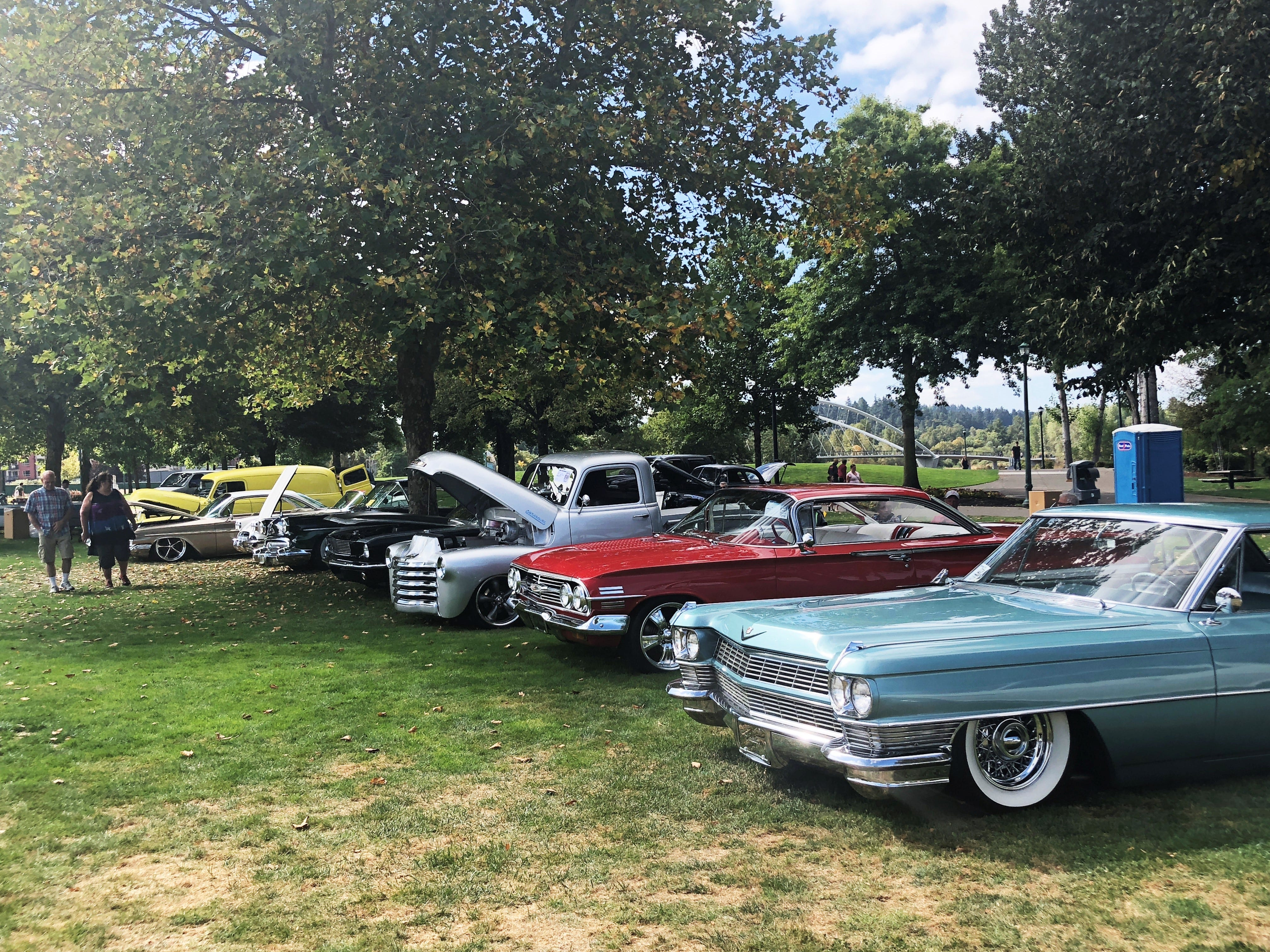 A row of cars at the 27th Annual Carousel Cruise at Riverfront Park in Salem on Saturday, Sept. 1. The event is held annually by the Willamette Valley Street Rods club.