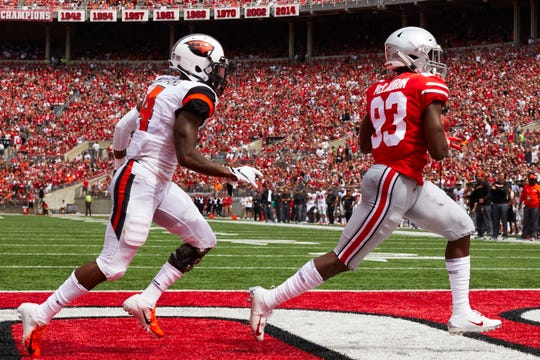 Sep 1, 2018; Columbus, OH, USA; State Buckeyes wide receiver Terry McLaurin (83) scores a touchdown at Ohio Stadium. Mandatory Credit: Rick Osentoski-USA TODAY Sports Ohio