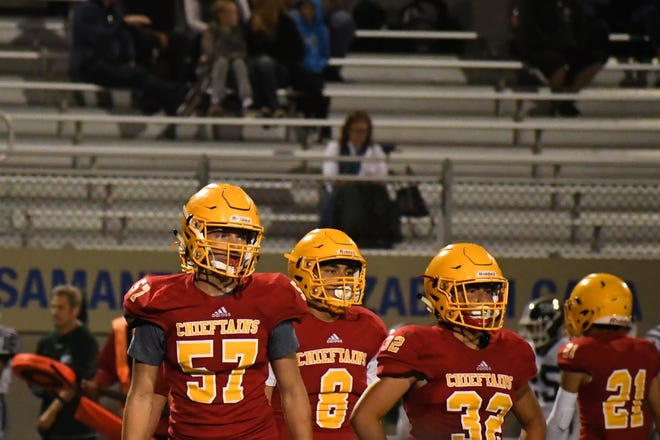 Palma junior Dane Golden (57), shown here in the fall on the football field for the Chieftains, has been a multi-event standout for Palma this spring on the track and field.