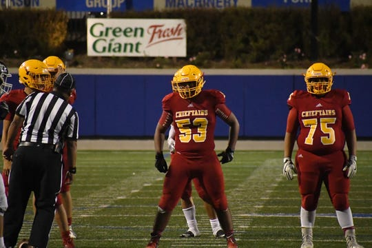 Palma guard Michael Lizaola (53) and fellow offensive linemen have the talent and technique to handle Pioneer's defense led by big linebacker Devonte Matthew. If they take care of business, the Chieftains offense will have another fantastic outing.