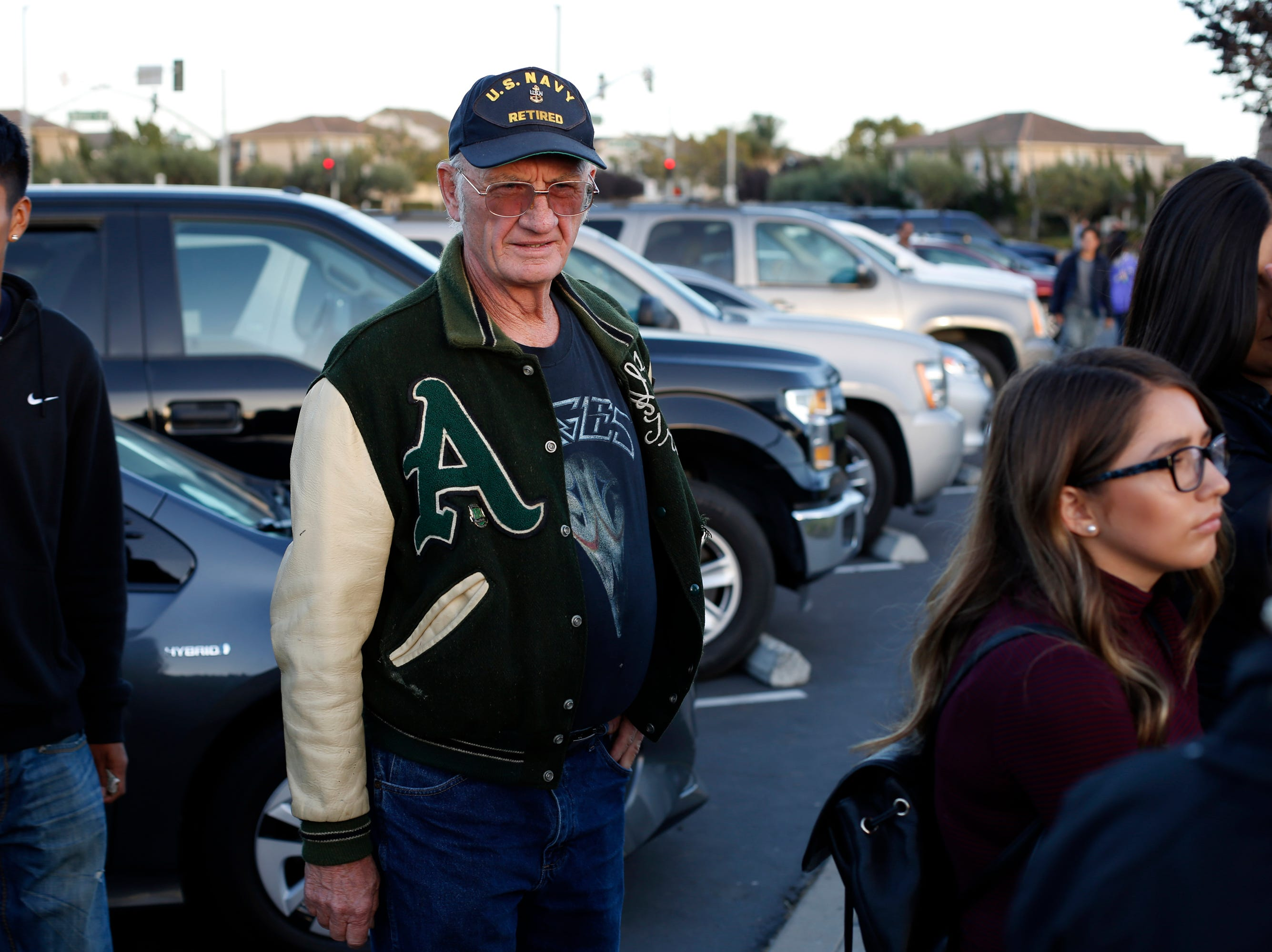 Alisal high class of 1971 alumni Mike Askew waits in line with students before football against Everett Alvarez at Alisal High School in Salinas on Friday August 31, 2018. (Photo By David Royal)