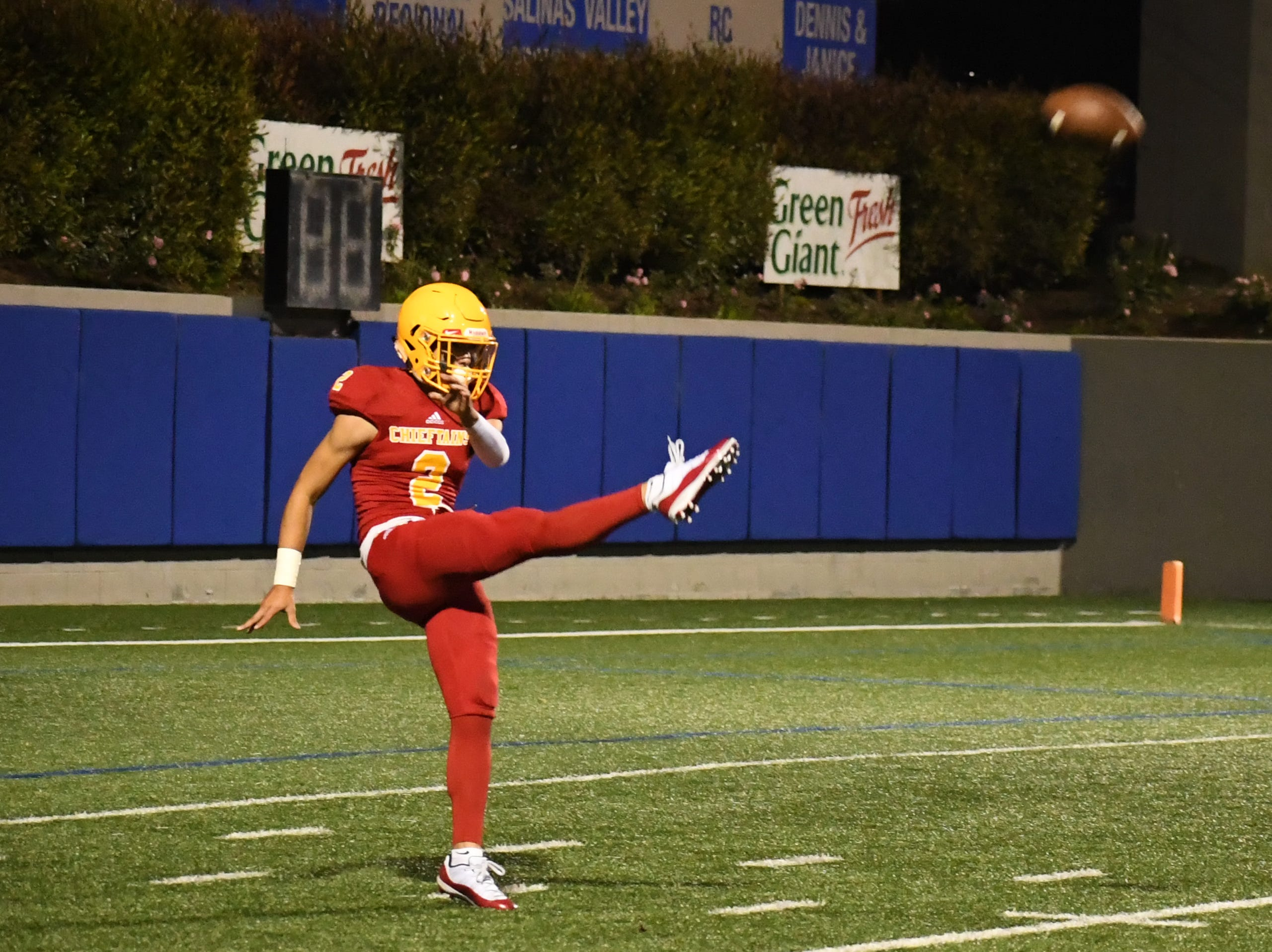 Palma senior Matteo Martinez (2) boots a punt that ended up going over 70 yards.